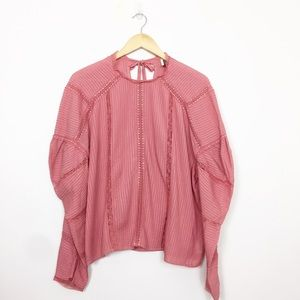 Topshop Rose Pink Lace Puff Sleeve Blouse Size 10